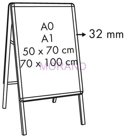 Nowoczesna architektura Potykacz stojak reklam tablica ramka stojaca dwustr 70x100 JW44